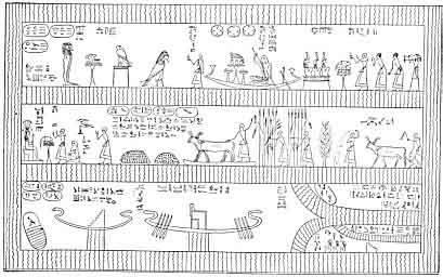 La morada de la Bienaventuranza . (Reproducción de Lepsius del Papiro de Turín)